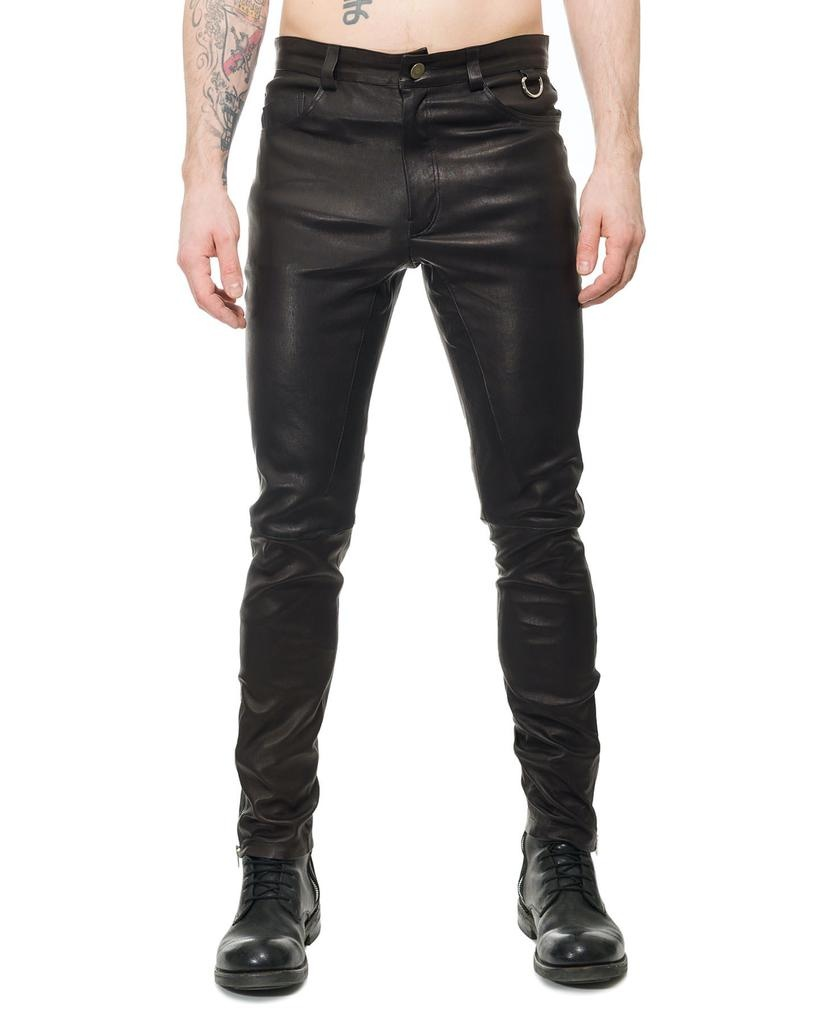 STRETCH LEATHER PANT WITH ZIP DETAIL