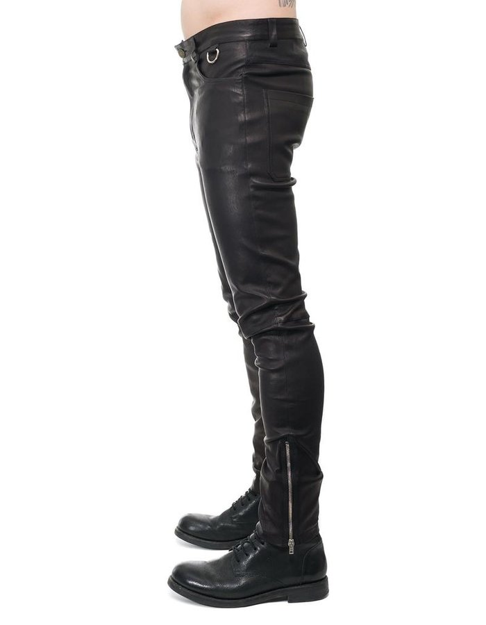 ISABEL BENENATO STRETCH LEATHER PANT WITH ZIP DETAIL