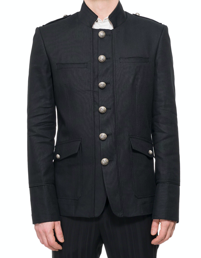 ISABEL BENENATO MILITARY LINEN/COTTON SARTORIAL JACKET