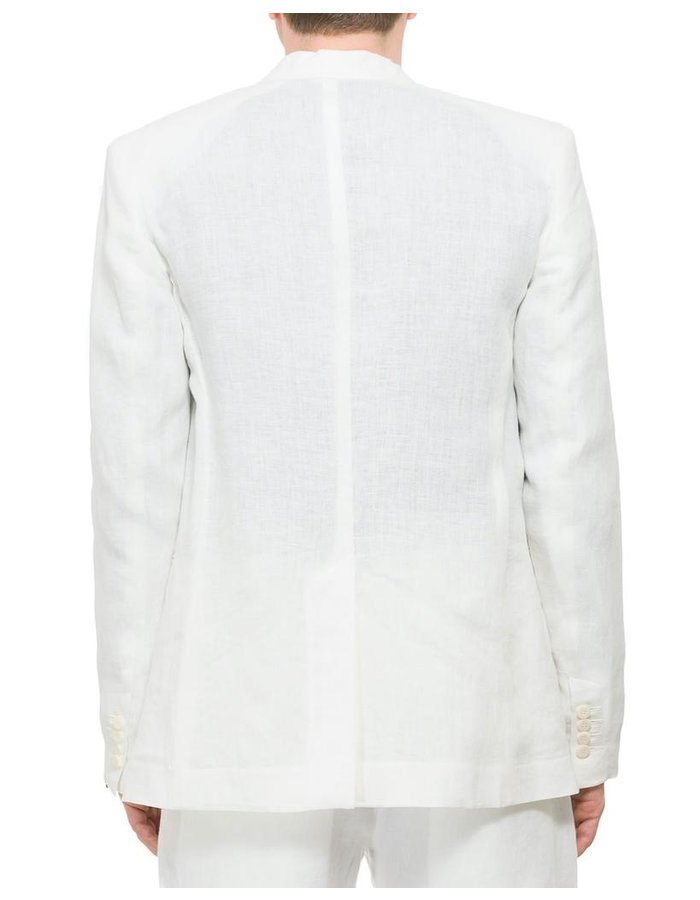 ISABEL BENENATO LINEN COLLARLESS JACKET