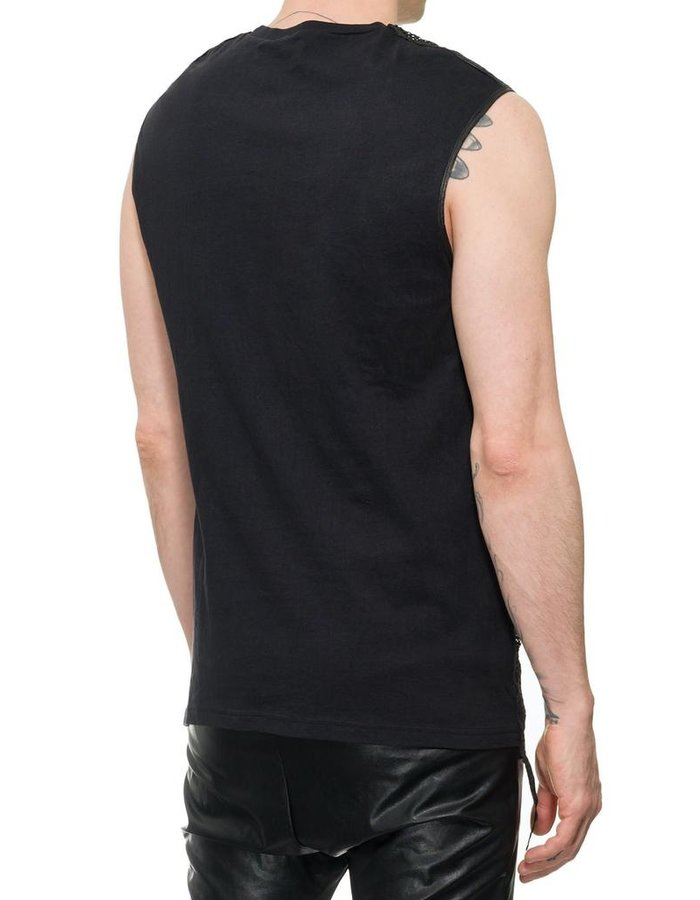 M-OJO RISIN' PERFORATED LEATHER FRONT SLEEVELESS SHIRT - CUBO