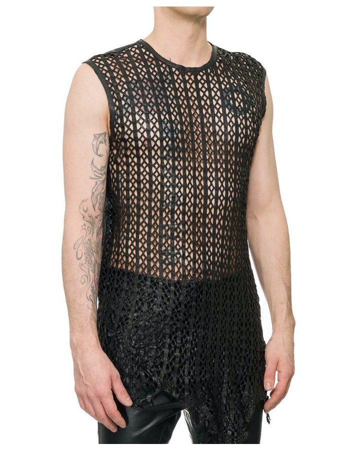 M-OJO RISIN' MACRAME FRONT SLEEVELESS LEATHER SHIRT