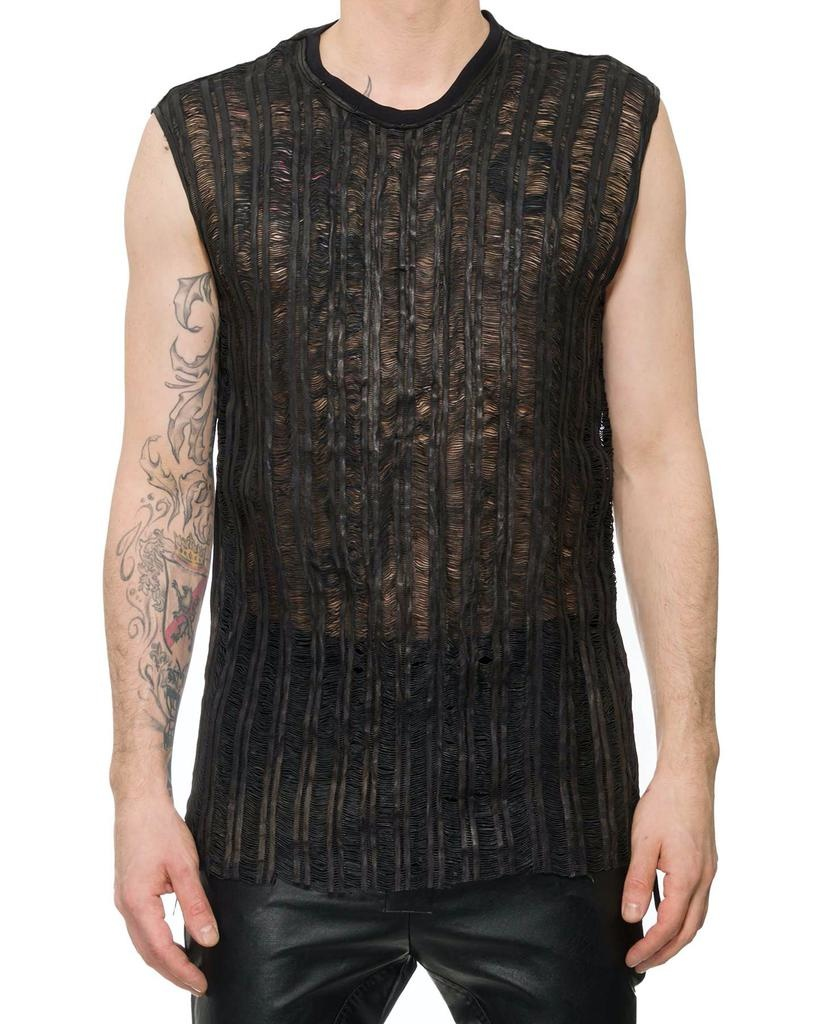 SLIT LEATHER FRONT SLEEVELESS SHIRT - SS