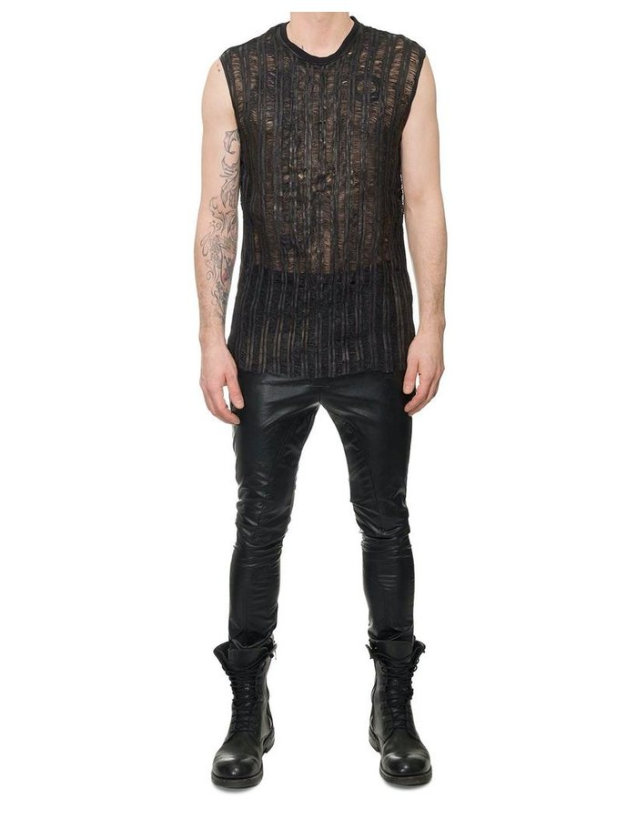M-OJO RISIN' SLIT LEATHER FRONT SLEEVELESS SHIRT - SS