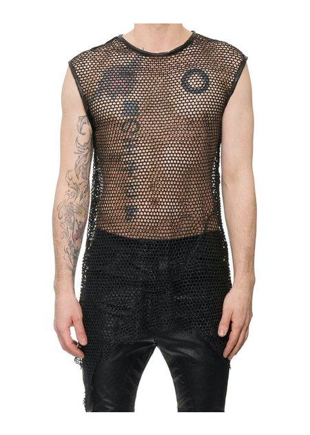 M-OJO RISIN' SLEEVELESS LEATHER FISHNET SHIRT