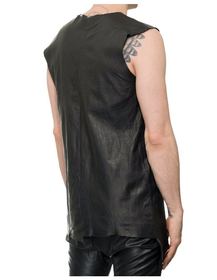 M-OJO RISIN' LEATHER SLEEVELESS SHIRT - BURRO