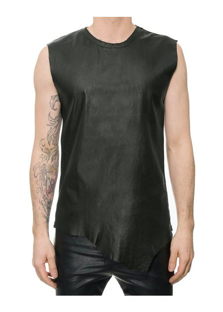 M-OJO RISIN' SLEEVELESS LEATHER FRONT TANK - DB BURRO