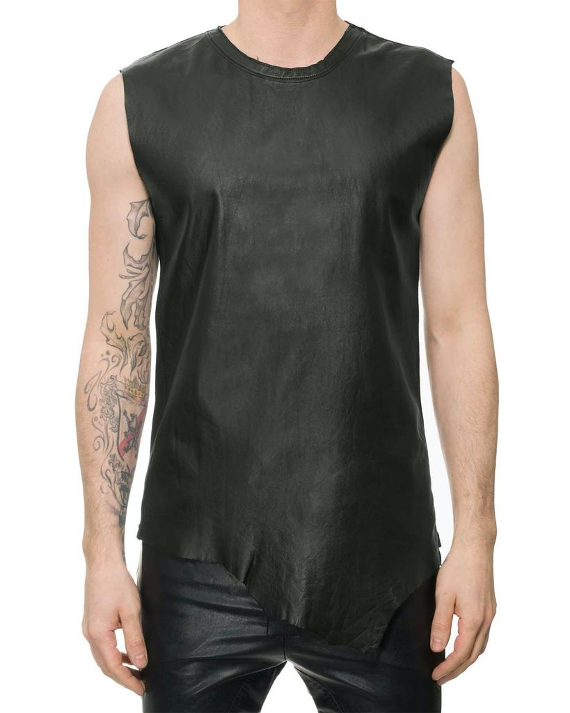 SLEEVELESS LEATHER FRONT TANK - DB BURRO