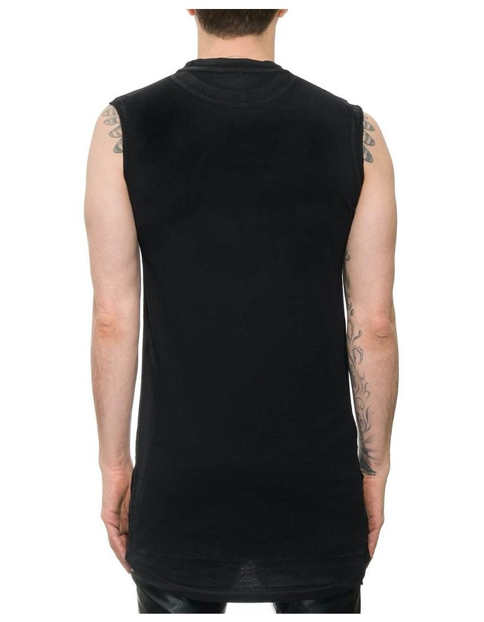 M-OJO RISIN' SLEEVELESS LEATHER FRONT SHIRT - DB COLLA