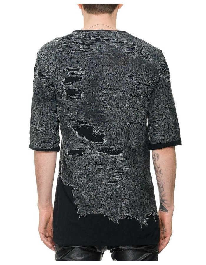NOSTRA SANTISSIMA CONTRAST EMBROIDERY T-SHIRT