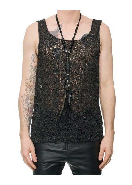 NOSTRA SANTISSIMA TEXTURED HAND KNIT TANK TOP