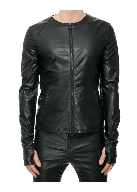NOSTRA SANTISSIMA VEGAN LEATHER ZIP FRONT JACKET