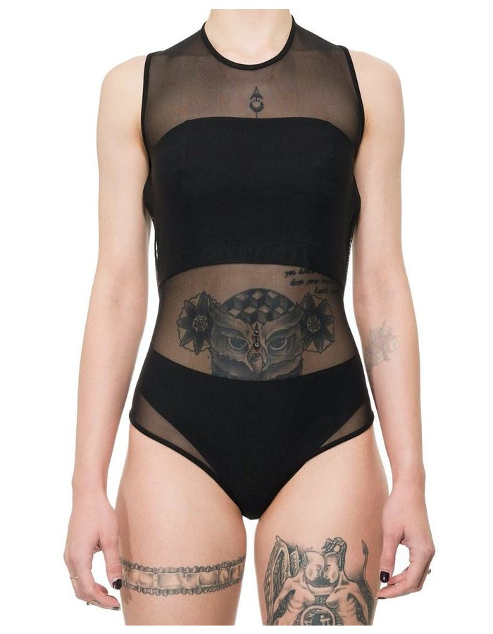 LA HAINE INSIDE US STRETCH TULLE BODY SUIT