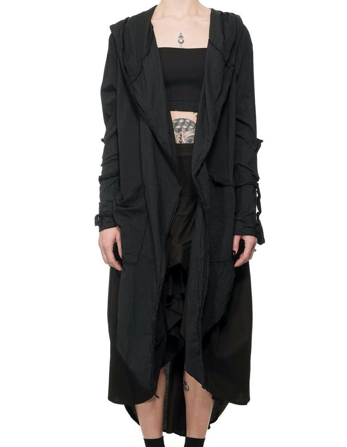 LA HAINE INSIDE US STRAP SLEEVE HOODED CARDIGAN