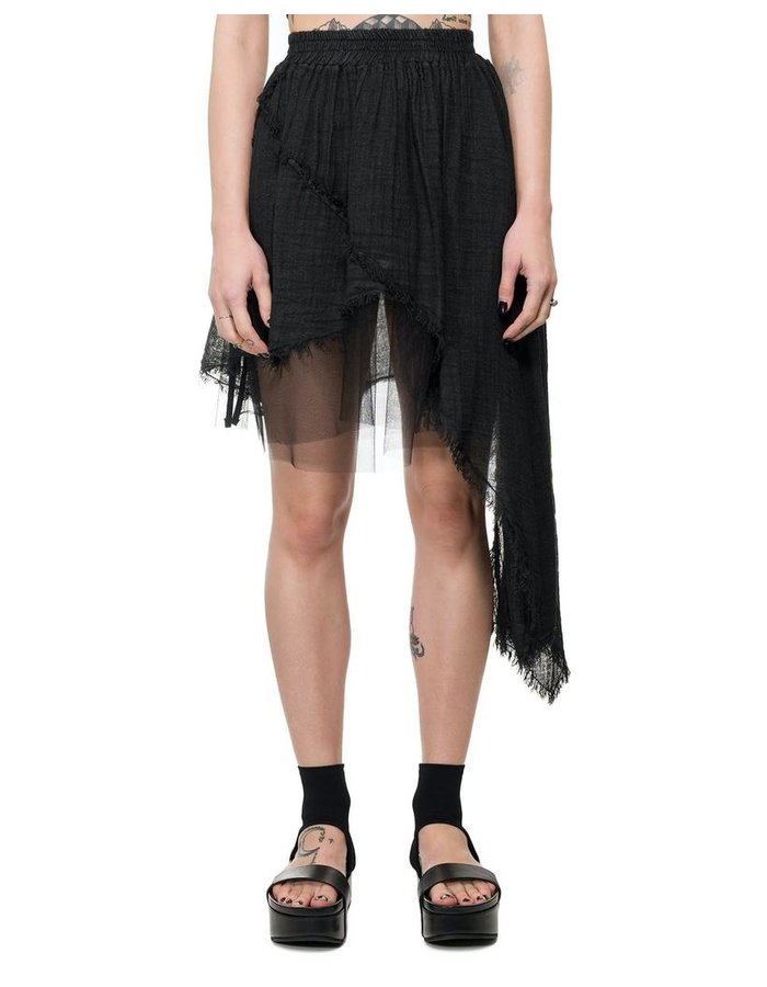 LA HAINE INSIDE US ASYMMETRIC GAUZE SKIRT
