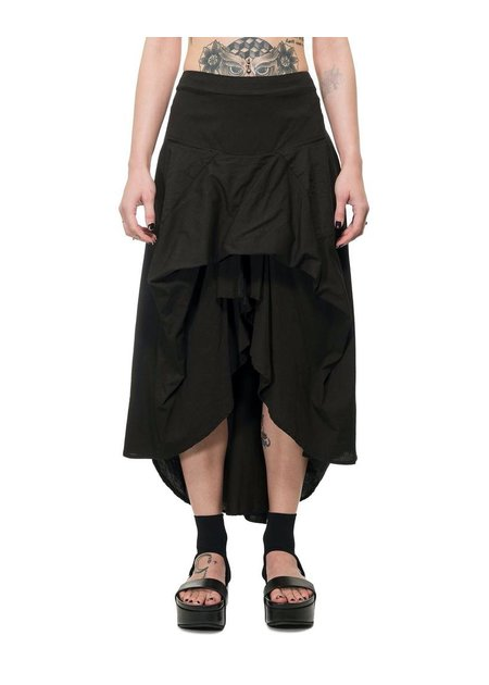 LA HAINE INSIDE US STRETCH ASYMMETRIC COTTON SKIRT