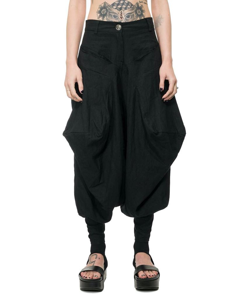 OVERSIZE LINEN TROUSER W/ ZIPPERED ANKLE