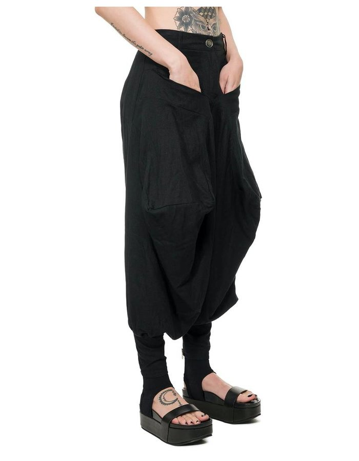 LA HAINE INSIDE US OVERSIZE LINEN TROUSER W/ ZIPPERED ANKLE