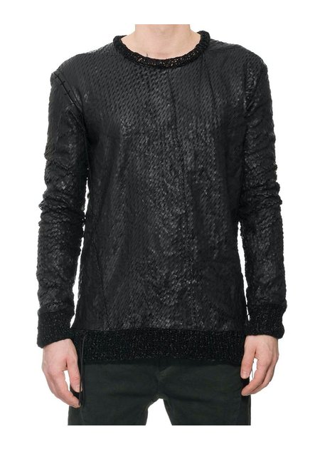 D. HYGEN SLIT PUNCHING HORSE LEATHER SHIRT