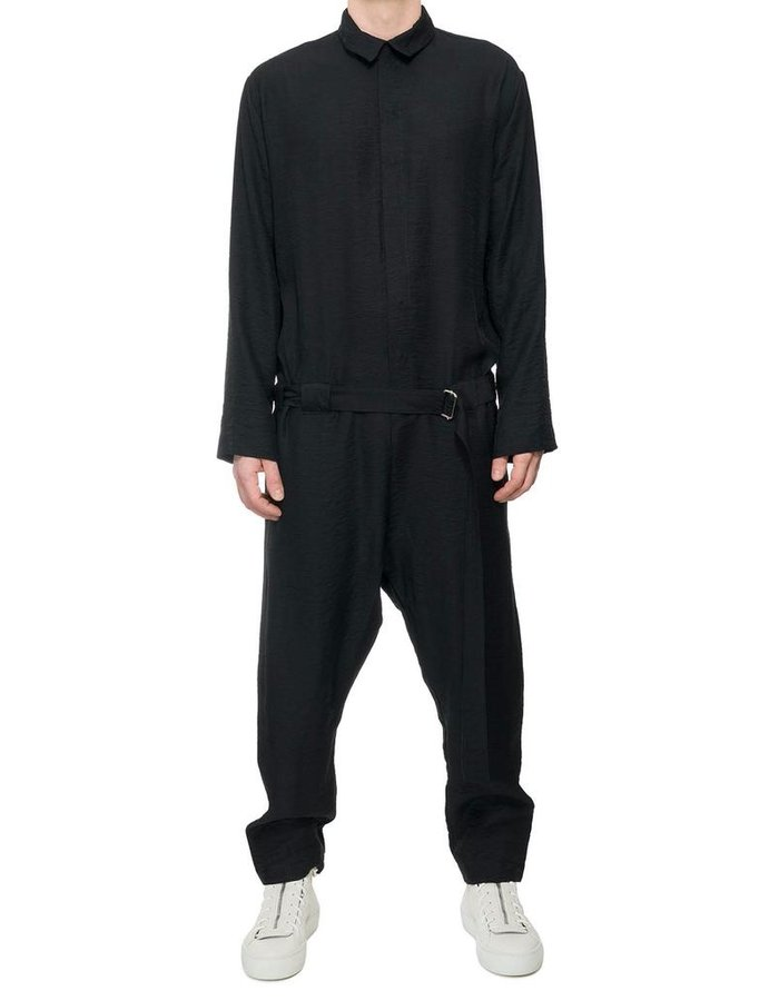 DAVID'S ROAD CREASED COTTON BELTED JUMPSUIT