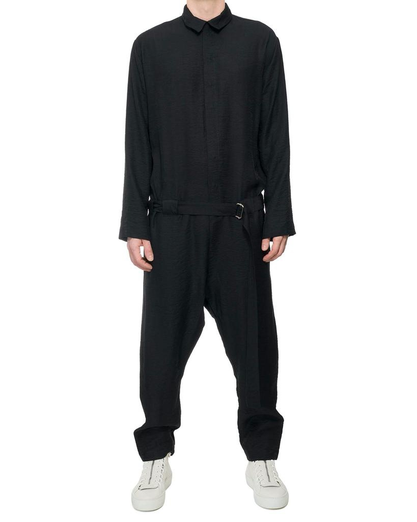 CREASED COTTON BELTED JUMPSUIT