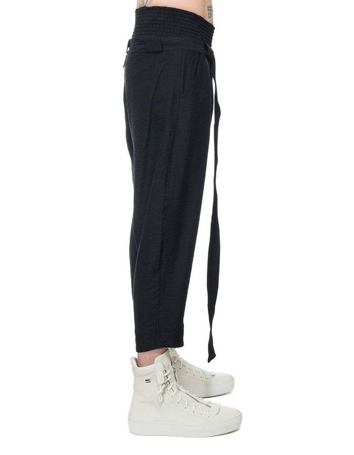 DAVID'S ROAD LIGHT COTTON CREASED COTTON BELTED TROUSER
