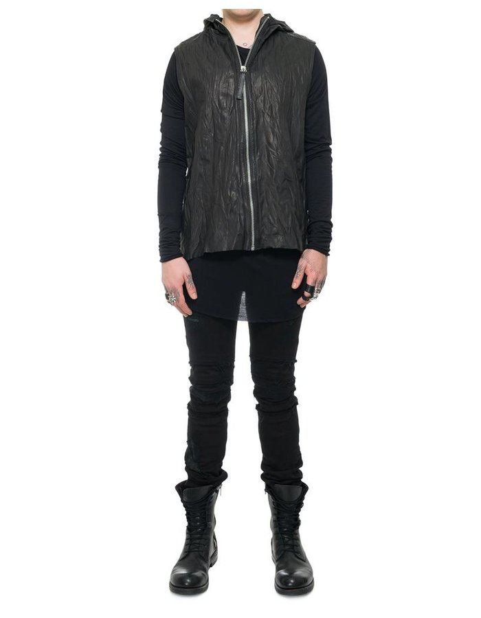 JULIA FOM HOODED LEATHER VEST WITH ZIPPER