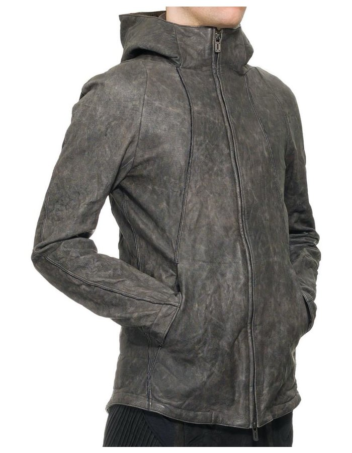 D. HYGEN ASH DYED HORSE LEATHER HOODED JACKET
