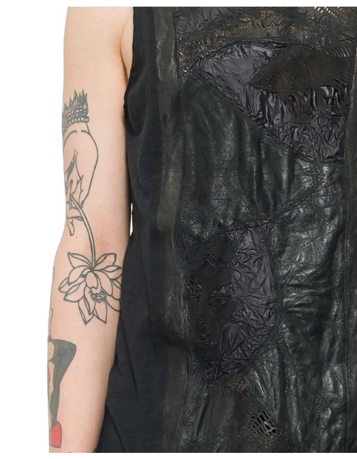 SANDRINE PHILIPPE TEXTURED LEATHER PANEL FRONT TANK