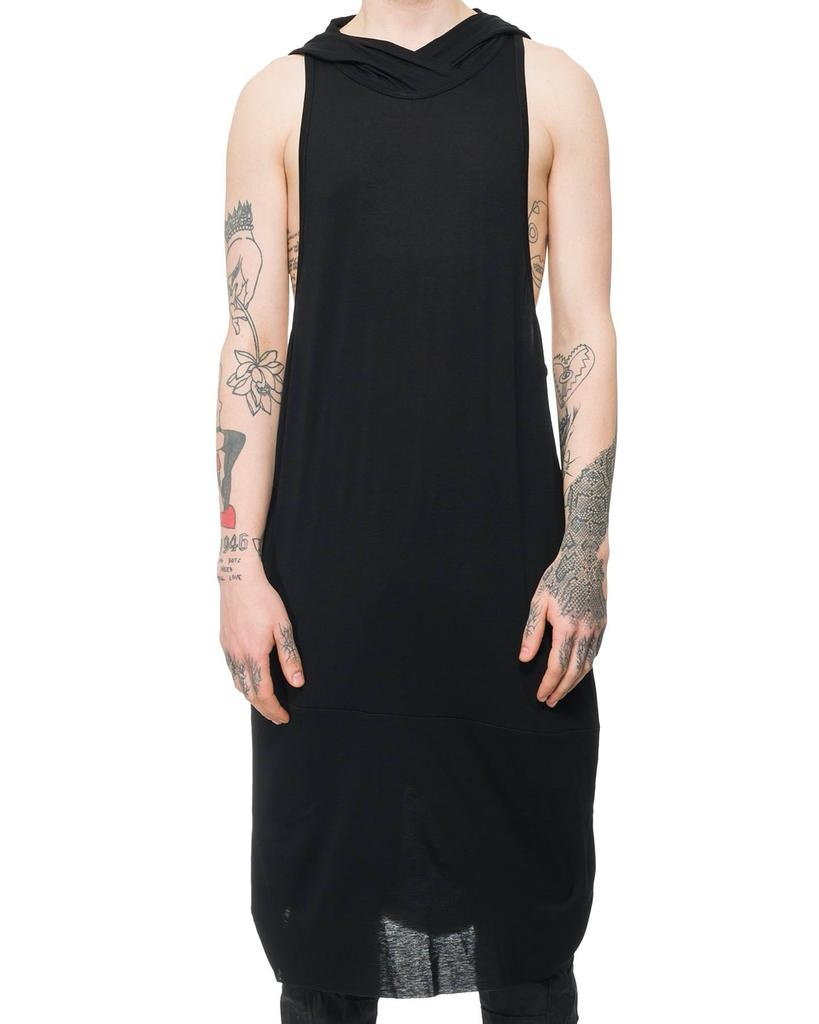 LONG JERSEY TANK WITH HOOD
