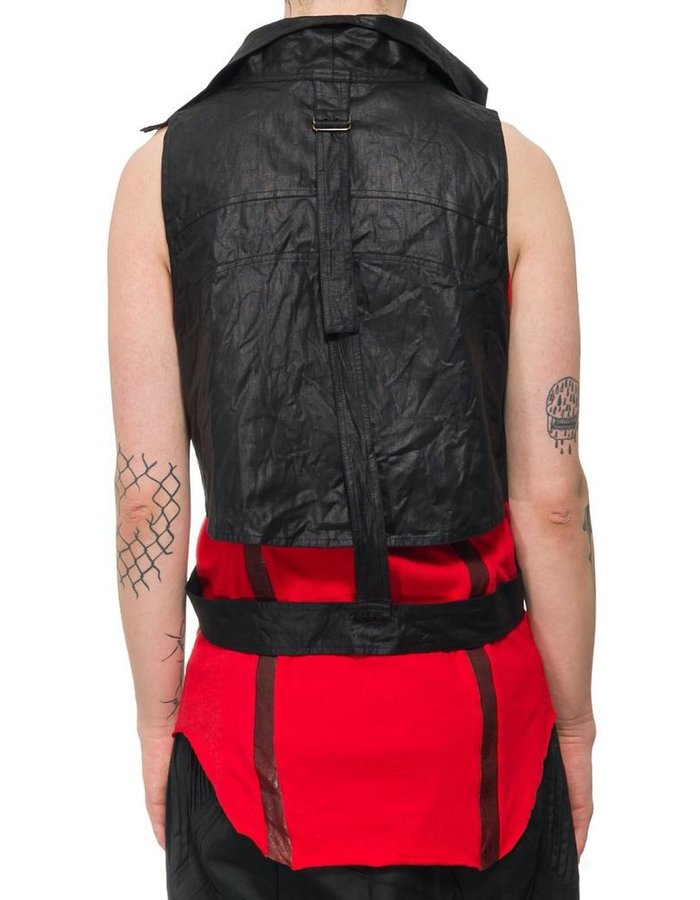 SANDRINE PHILIPPE WAXED COTTON HIGH NECK VEST HARNESS
