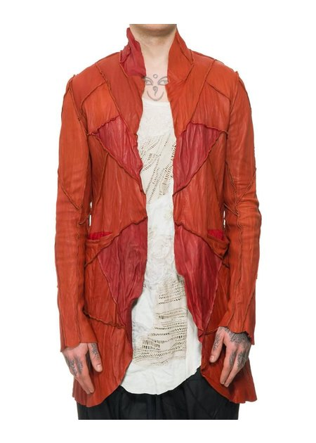 SANDRINE PHILIPPE WASHED LEATHER PATCHWORK JACKET