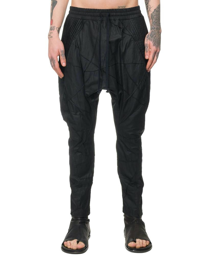 WAXED PATCHWORK DROP CROTCH PANTS