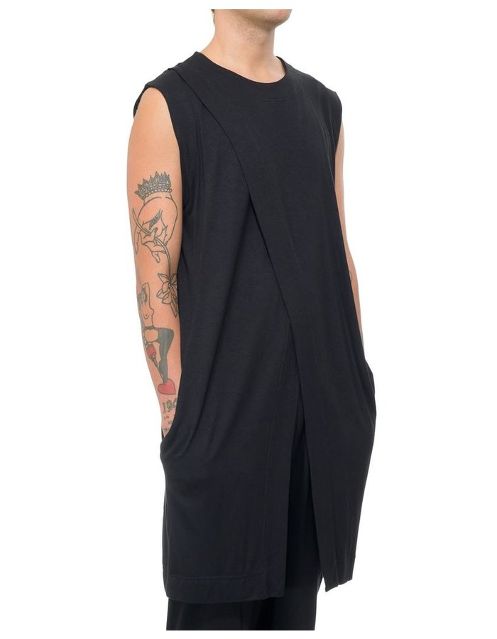 DAVID'S ROAD SLEEVELESS JERSEY WRAP TOP
