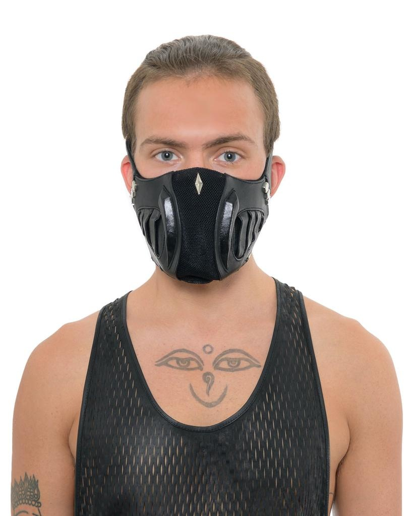 LEATHER AND STERLING FACE MASK