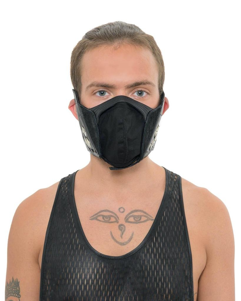 HARNESS LEATHER AND STERLING FACE MASK