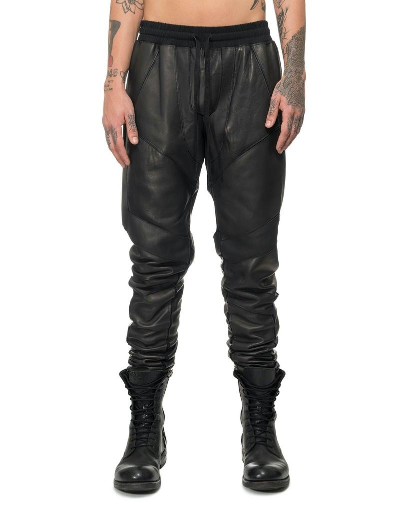 PANELED LEATHER JOGGING PANTS