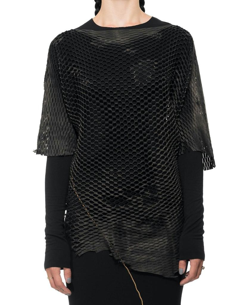 LEATHER MESH TOP