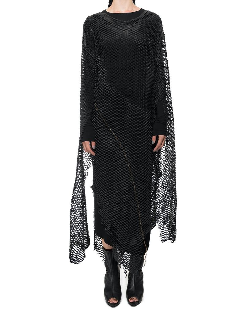 LONG LEATHER MESH TUNIC