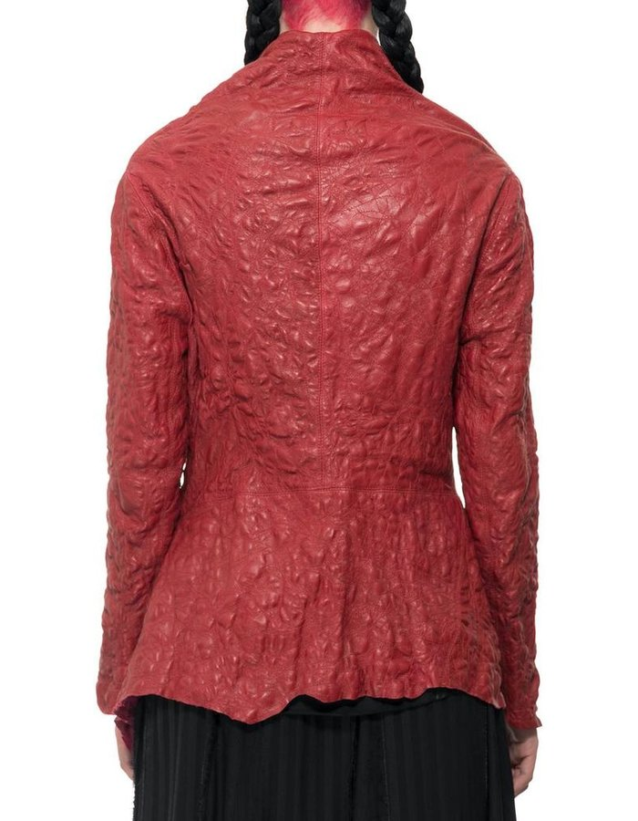 SANDRINE PHILIPPE HI COLLAR JACKET : RE EMBROIDERED LEATHER