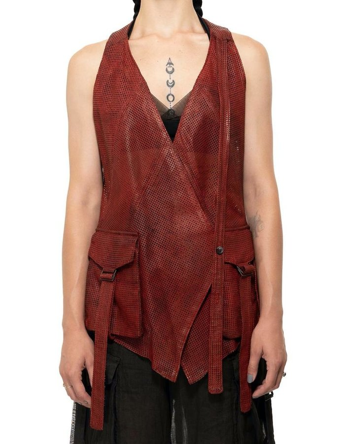 MASNADA PERFORATED LEATHER VEST