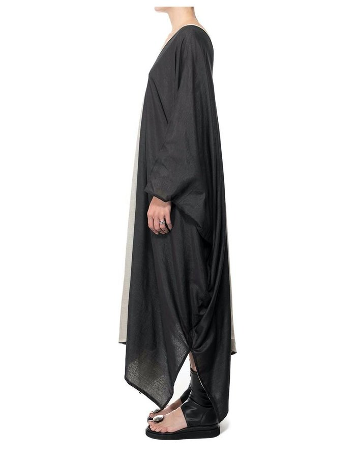 DAVID'S ROAD BLACK & WHITE COTTON & SILK TUNIC DRESS