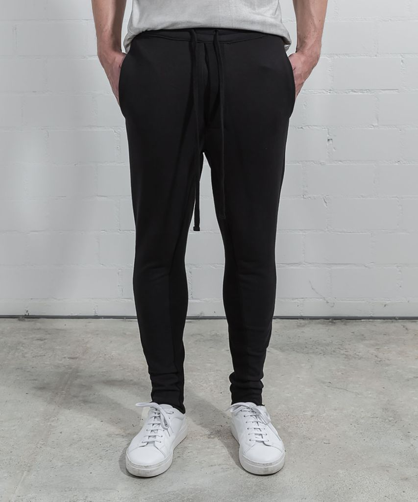 LOW CROTCH SWEAT PANTS - BLK