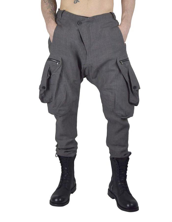 MASNADA MULTI POCKET LINEN PANTS :GRY