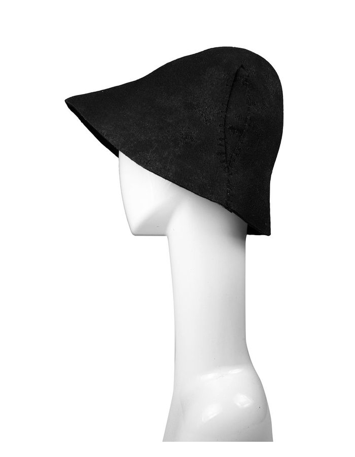 KLOSHAR HATS PULL-ON RESIN COATED HAT WITH IRREGULAR STITCHING