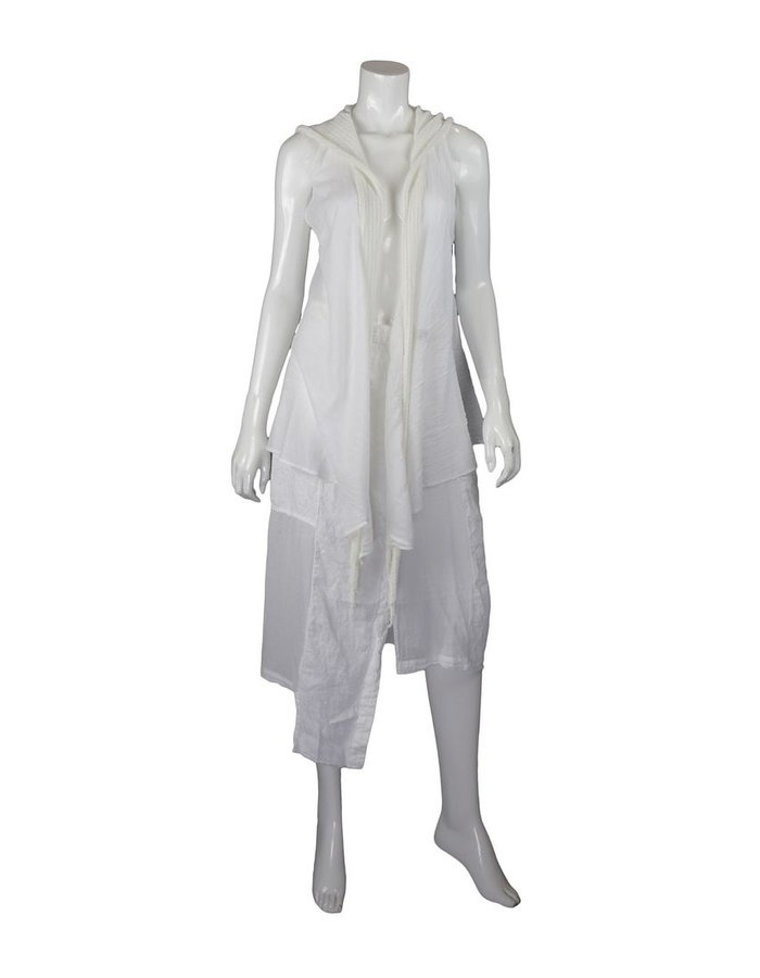 LOST AND FOUND ROOMS WHITE SLEEVELESS COTTON CARDIGAN