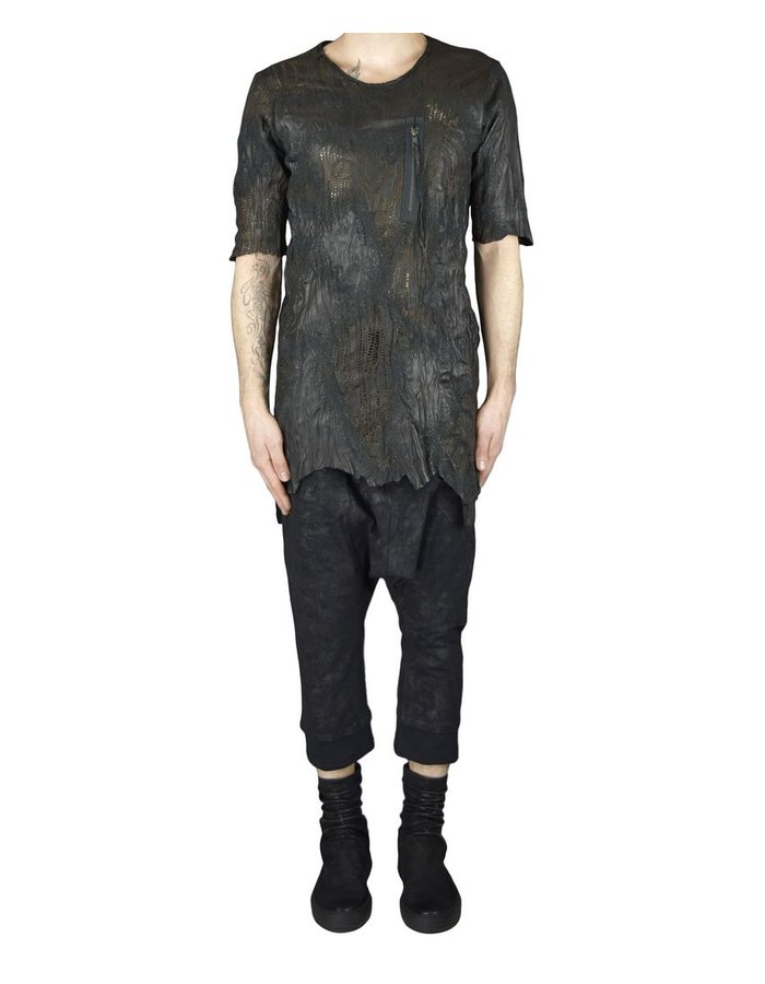SANDRINE PHILIPPE LEATHER HAND CUT TEE SHIRT WITH STITCH DETAILS