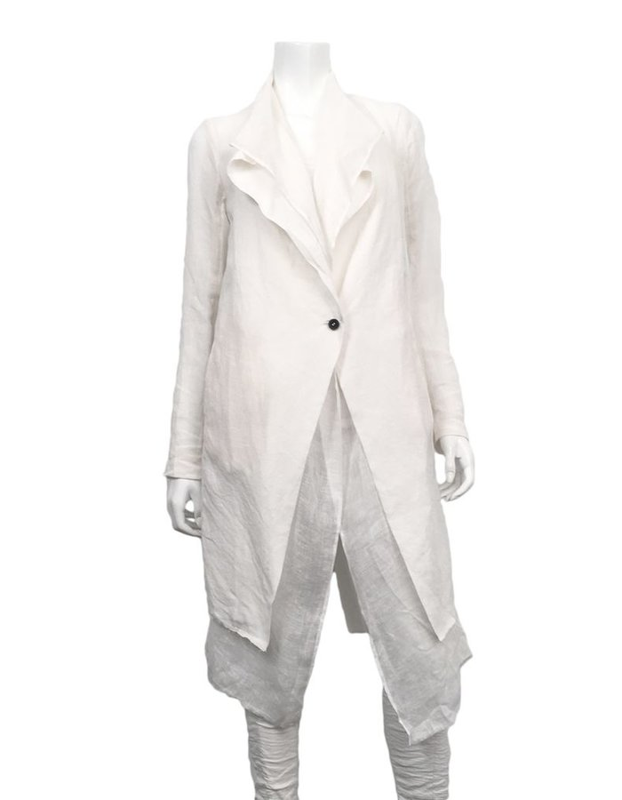 MASNADA LINEN DUSTER COAT WHITE