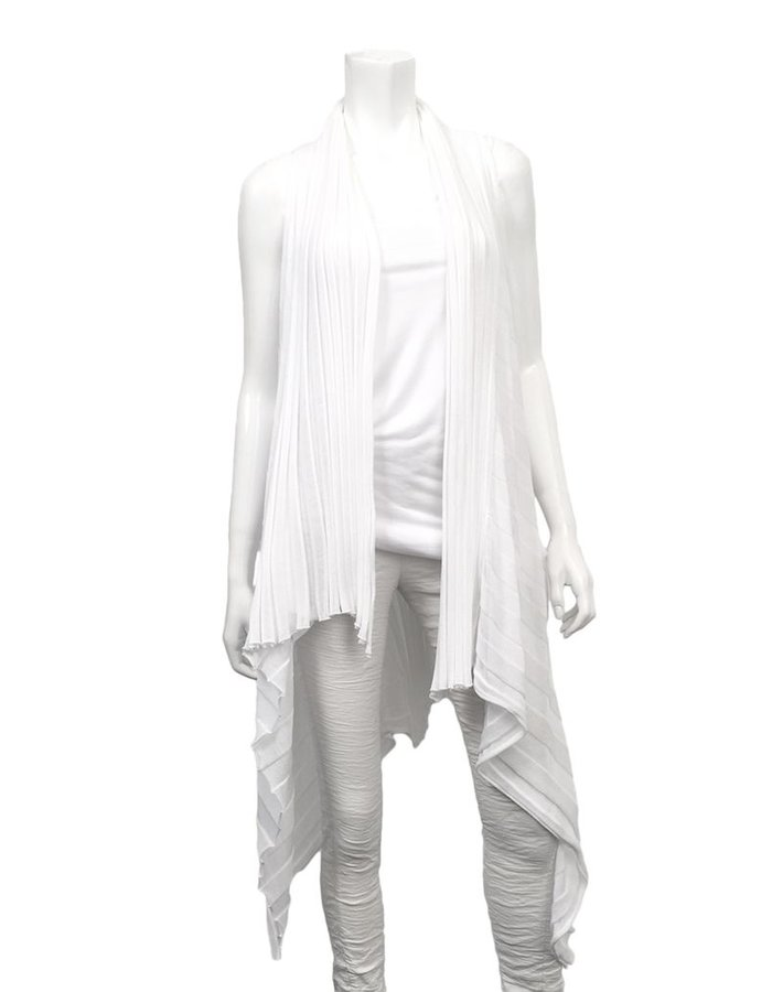 MASNADA COTTON SHEER VEST -WHITE