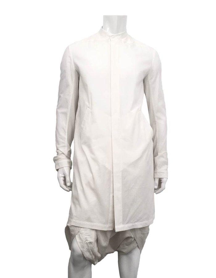 JOE CHIA LINED LONG MANDARIN COLLAR SHIRT WHITE